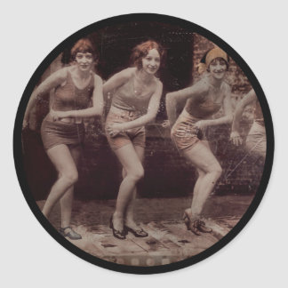 Glam Girl Flappers Dancing Classic Round Sticker