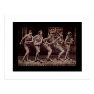 Glam Girl Flappers Dancing Postcard