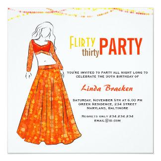 Glam Girl Orange Skirt Flirty Thirty Party Custom Invitations
