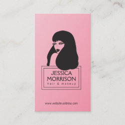 Glam Girl Pink Hair Salon Beauty Business Card