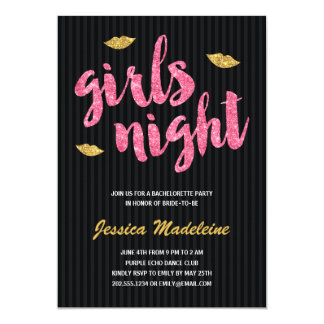 Glam Girls Night | Glitter Look Bachelorette Party Card