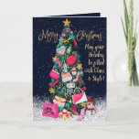 Glam Girly Shoes Purse Makeup Christmas Tree Card
