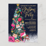 Glam Girly Shoes Purse Makeup Christmas Tree Holiday Postcard