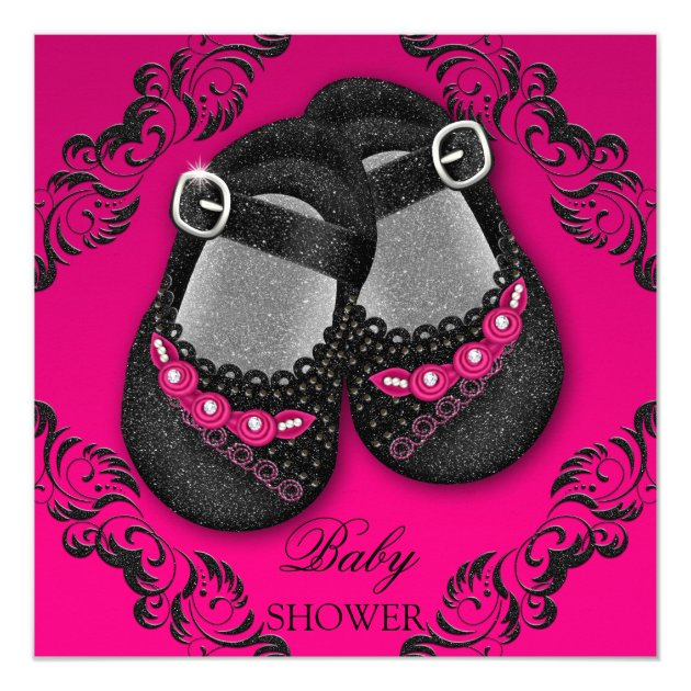 Glam Glitter Baby Shoes Hot Pink Black Shower Card