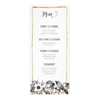 Glam Glitter Black and White Floral Menu Card
