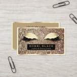 """Glam Glitter Eyelash Extensions Makeup Artist Business Card<br><div class=""""desc"""">Chic girly glitter look, glam business cards for estheticians, eyelash and makeup artists, stylists, hair stylists, beauticians, cosmetologists, nail salons, beauty bloggers, and other beauty-related businesses and professions- Front has faux, shiny glitter look texture. Black frame at bottom displays personalized name and professional title in modern lettering. Above are faux...</div>"""