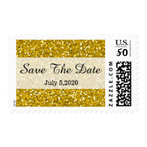 Glam Glitter Gold Save The Date Postage