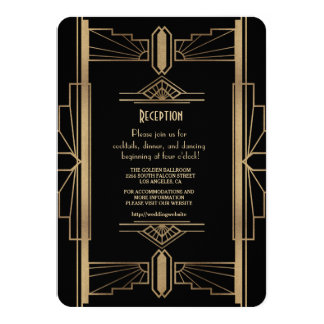 Glam Gold 1920's Great Gatsby 1920s Reception Card
