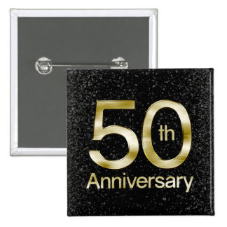 Glam Gold 50th Anniversary 2 Inch Square Button