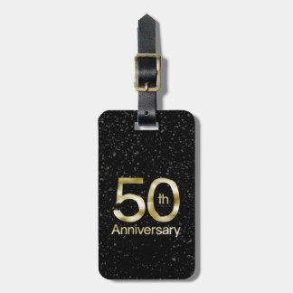 Glam Gold 50th Anniversary Luggage Tag