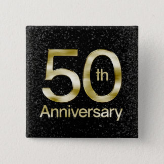 Glam Gold 50th Anniversary Pinback Button