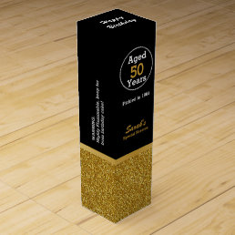 Glam Gold and Black Custom Birthday Wine Box