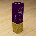 """Glam Gold and Purple Custom Birthday Wine Box<br><div class=""""desc"""">Stylish and fun birthday themed wine box done in purple,  with a glittery looking gold,  around the bottom. Personalize any of the text to read what you want. Add in any wine you want for a perfect birthday gift idea.</div>"""