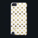 "Glam Gold and White Polka Dot iPod Touch (5th Generation) Case<br><div class=""desc"">Protect your iPod Touch 5G,  in style,   with this elegant white and gold tone case.  Graphics of gold tone polka dots,  on a white background covers this fun yet glamorous case.  Personalize the text,  on the bottom left,  for yourself or as a great gift idea.</div>"