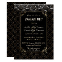 Glam Gold Art Deco Fleur-de-lis Engagement Party Invitation