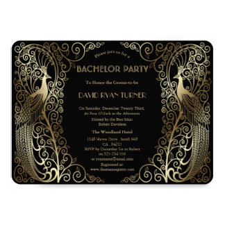 Glam Gold Art Deco Peacocks Bachelor Party Invitation