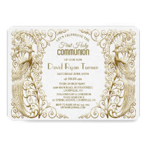 Glam Gold Art Deco Peacocks First Holy Communion Card