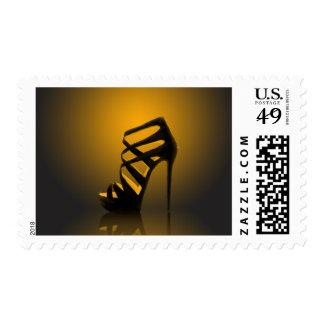Glam Gold Black High Heel Postage Stamp