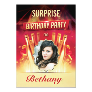 Glam Gold Bottles Surprise Birthday Party Photo Card