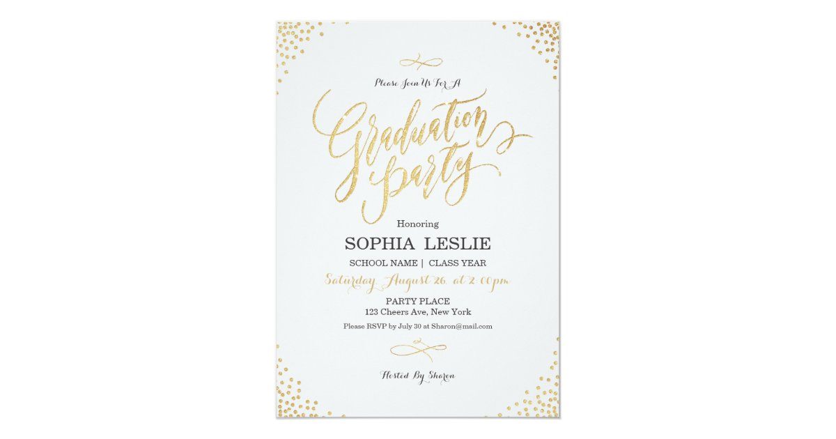 Glam gold calligraphy vintage graduation party invitation