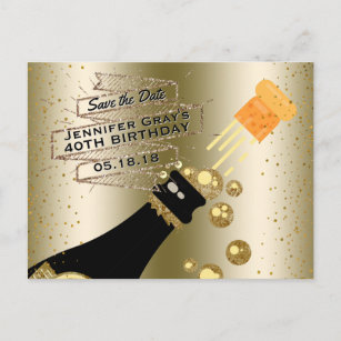 Glam Gold Champagne Save The Date Elegant Birthday Announcement Postcard