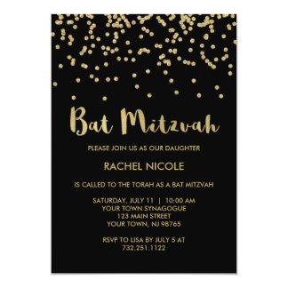 Glam Gold Confetti Bat Mitzvah on Black Card