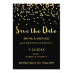 Glam Gold Confetti Wedding Save the Date on Black Card