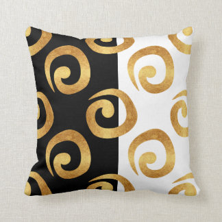 Glam Gold Curls on Black and White Throw Pillow