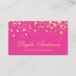 glam gold dots decor trendy girly hot pink business card - Girly Business Cards
