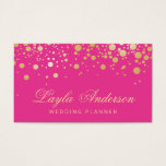 "Glam Gold Dots Decor - Trendy Girly Hot Pink Business Card<br><div class=""desc"">Glam Gold Dots Decor - Trendy Girly Hot Pink - Fashion and Unique Business Cards (The Background Color is Changeable). This design is perfect for Wedding Coordinator, Event Planner, Modern Makeup Artist, Craft Artist , Fashion Stylist, Hair Stylist, Nail Technician, Beautician, Cosmetologist, Esthetician, Hairdresser, SPA Store, Salon Store, and more....</div>"