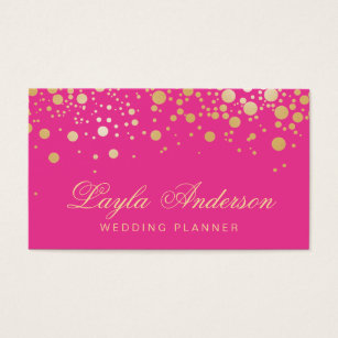 Hot pink business cards templates zazzle glam gold dots decor trendy girly hot pink business card flashek Gallery