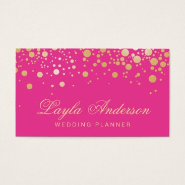 CardHunter Glam Gold Dots Decor - Trendy Girly Hot Pink Business Card