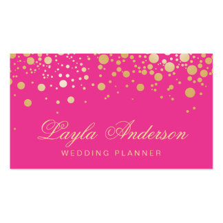 Glam Gold Dots Decor - Trendy Girly Hot Pink Double-Sided Standard Business Cards (Pack Of 100)