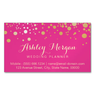 Glam Gold Dots Decor - Trendy Girly Hot Pink Magnetic Business Cards (Pack Of 25)