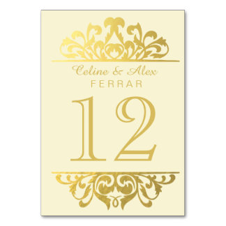 Glam Gold Foil Flourish Table Numbers   ivory gold Card