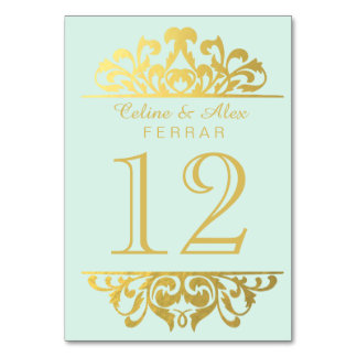 Glam Gold Foil Flourish Table Numbers | mint gold Card