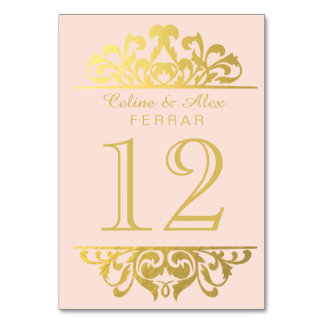 Glam Gold Foil Flourish Table Numbers | pink gold