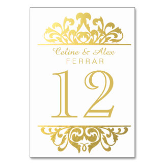Glam Gold Foil Flourish Table Numbers   white Card