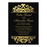 Glam Gold Foil Flourish Wedding | black gold 5x7 Paper Invitation Card