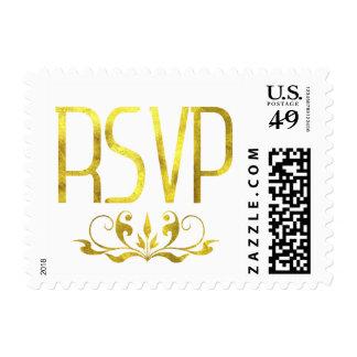 Glam Gold Foil RSVP Flourish Embellishment Postage