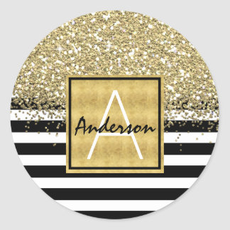 Glam Gold Glitter Black & White Stripes Monogram Classic Round Sticker