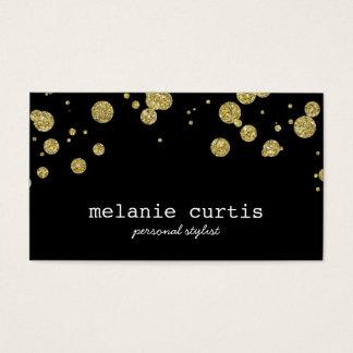Glam Gold Glitter Confetti Dots Black Business Card