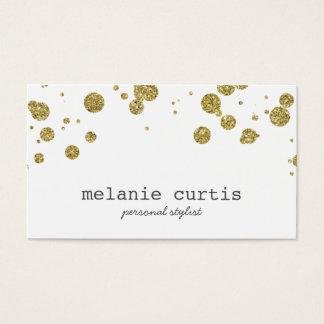 Glam Gold Glitter Confetti Dots Business Card