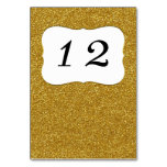 Glam Gold Glitter Look Custom Table Number Table Card