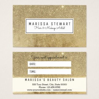 Glam Gold Glitter Mesh Appointment Card