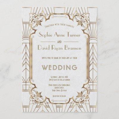 Glam Gold Great Gatsby White Art Deco 20s Wedding Invitation