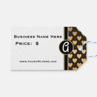 Glam Gold Heart Monogrammed Price Gift Tags