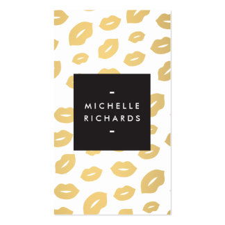 Glam Gold Lip Print for Makeup Artists Double-Sided Standard Business Cards (Pack Of 100)