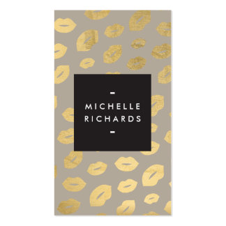 Glam Gold Lip Print III for Makeup Artists Business Card