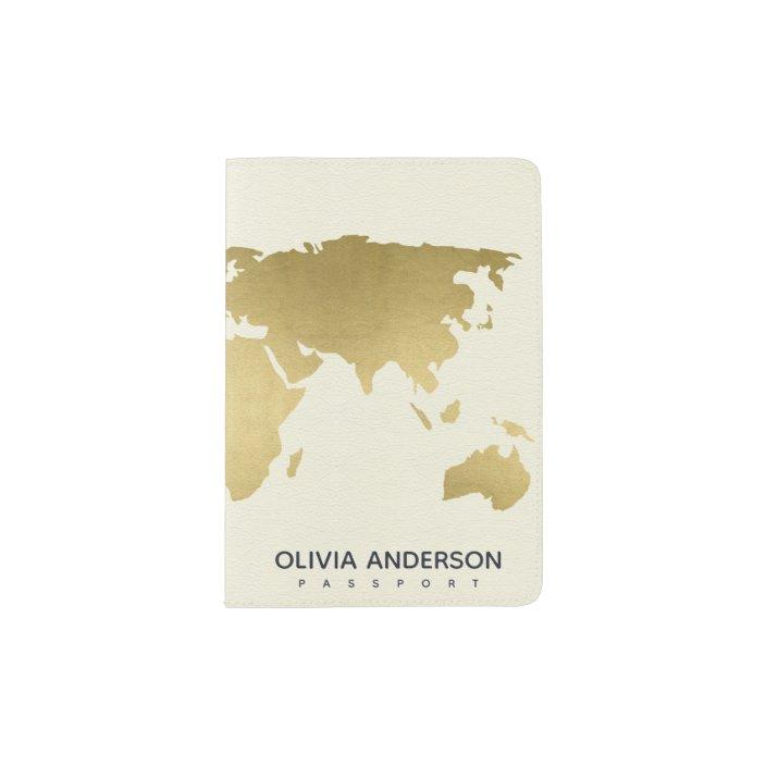Glam Gold On White World Map Monogram Passport Holder Zazzle Com